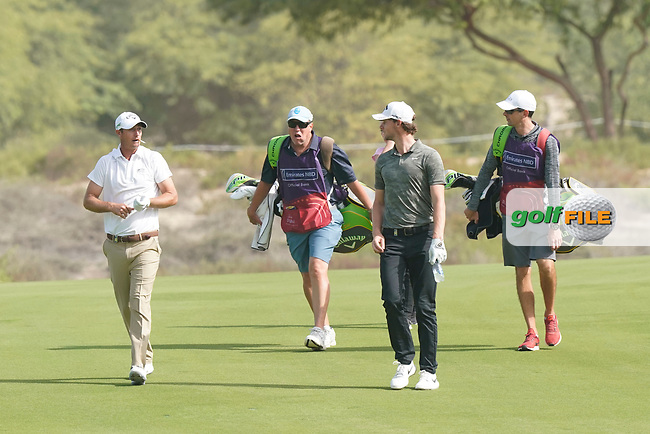 Nicolas Colsaerts (BEL) and Thomas Pieters (BEL) during the third round of the Omega Dubai Desert Classic, Emirates Golf Club, Dubai, UAE. 26/01/2019<br /> Picture: Golffile | Phil Inglis<br /> <br /> <br /> All photo usage must carry mandatory copyright credit (&copy; Golffile | Phil Inglis)
