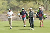 Nicolas Colsaerts (BEL) and Thomas Pieters (BEL) during the third round of the Omega Dubai Desert Classic, Emirates Golf Club, Dubai, UAE. 26/01/2019<br /> Picture: Golffile | Phil Inglis<br /> <br /> <br /> All photo usage must carry mandatory copyright credit (© Golffile | Phil Inglis)