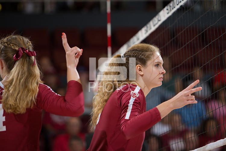 STANFORD, CA - September 9, 2018: Holly Campbell at Maples Pavilion. The Stanford Cardinal defeated #1 ranked Minnesota 3-1 in the Big Ten / PAC-12 Challenge.