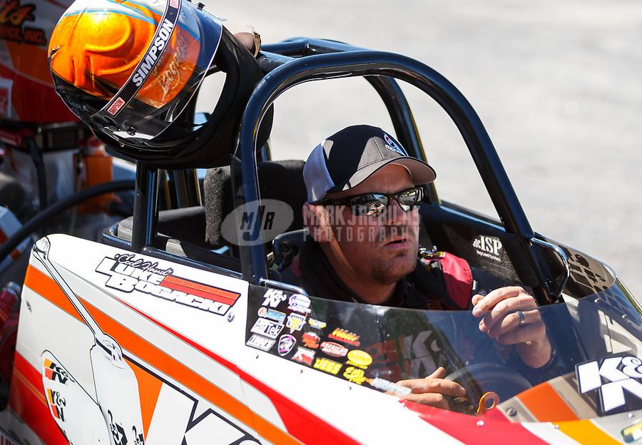 May 7, 2017; Commerce, GA, USA; NHRA super comp driver Luke Bogacki during the Southern Nationals at Atlanta Dragway. Mandatory Credit: Mark J. Rebilas-USA TODAY Sports