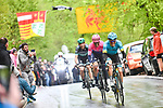 Jakob Fuglsang (DEN) Astana Pro Team,  Michael Woods (CAN) EF Education First and Davide Formolo (ITA) Bora - Hansgrohe out front during 105th edition of Li&egrave;ge-Bastogne-Li&egrave;ge 2019, La Doyenne, running 256km from Liege to Liege, Belgium. 28th April 2019<br /> Picture: ASO/Gautier Demouveaux | Cyclefile<br /> All photos usage must carry mandatory copyright credit (&copy; Cyclefile | ASO/Gautier Demouveaux)