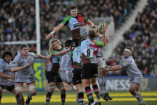 28.1.12. Rugby Union. Charlie Matthews of Harlequins clears from the line out during Harlequins in the third round of the LV= Cup against Leicester Tigers at The Twickenham Stoop, London, England on 28 January 2012