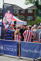 Lincoln City fans enjoy the pre-match atmosphere in the fan zone<br /> <br /> Photographer Chris Vaughan/CameraSport<br /> <br /> The EFL Sky Bet League Two - Lincoln City v Swindon Town - Saturday 11th August 2018 - Sincil Bank - Lincoln<br /> <br /> World Copyright &copy; 2018 CameraSport. All rights reserved. 43 Linden Ave. Countesthorpe. Leicester. England. LE8 5PG - Tel: +44 (0) 116 277 4147 - admin@camerasport.com - www.camerasport.com
