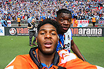 Ellis Harrison of Bristol Rovers takes a selfie with  Nathan Blissett of Bristol Rovers after winning the 2015 Vanarama Conference Promotion Final match between Grimsby Town and Bristol Rovers at Wembley Stadium, London<br /> Picture by David Horn/eXtreme aperture photography +44 7545 970036<br /> 17/05/2015
