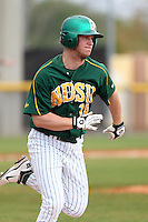 North Dakota State Bison outfielder Blake Turbak #16 during a game against the Pennsylvania Quakers at Henley Field on March 11, 2012 in Lakeland, Florida.  North Dakota State defeated Pennsylvania 15-3.  (Mike Janes/Four Seam Images)