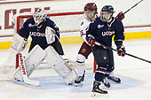 Rob Nichols (UConn - 31), Julius Mattila (BC - 26), Miles Gendron (UConn - 10) - The Boston College Eagles defeated the visiting UConn Huskies 2-1 on Tuesday, January 24, 2017, at Kelley Rink in Conte Forum in Chestnut Hill, Massachusetts.