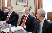 Incoming White House chief of staff Reince Priebus(C) is flanked by Formers White House Chief of Staff Samuel Knox Skinner (L) and Rahm Emanuel (R) during a meeting in the Chief of Staff office of the White House in Washington, DC, December 16, 2016.  <br /> Credit: Olivier Douliery / Pool via CNP
