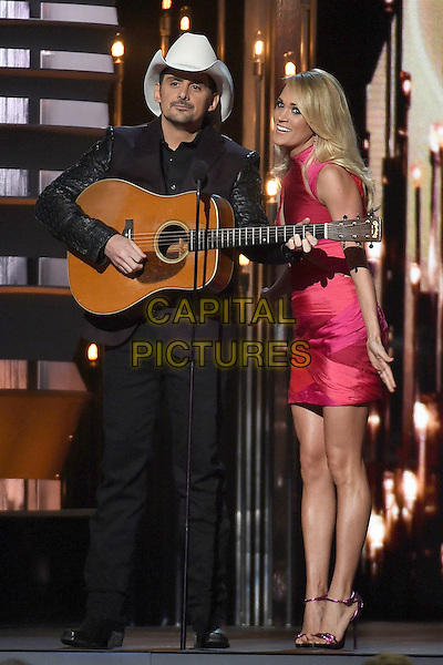 4 November 2015 - Nashville, Tennessee - Brad Paisley, Carrie Underwood. 49th CMA Awards, Country Music's Biggest Night, held at Bridgestone Arena. <br /> CAP/ADM/LF<br /> &copy;LF/ADM/Capital Pictures