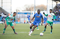 Frank Nouble of Colchester United holds the ball up looking for an opening during Colchester United vs Plymouth Argyle, Sky Bet EFL League 2 Football at the JobServe Community Stadium on 8th February 2020