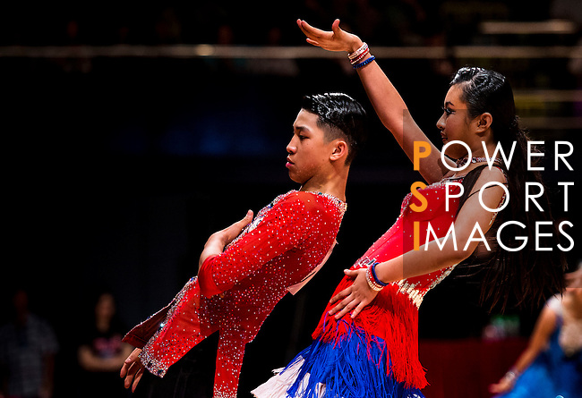 Yung Cheng Lin and Serena Lin of Chinese Taipei during the WDSF GrandSlam Latin on the Day 1 of the WDSF GrandSlam Hong Kong 2014 on May 31, 2014 at the Queen Elizabeth Stadium Arena in Hong Kong, China. Photo by AItor Alcalde / Power Sport Images