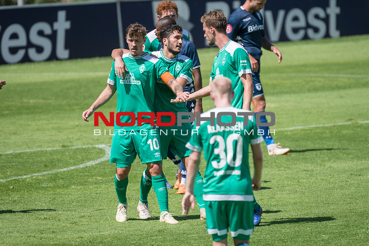 11.01.2019, Bidvest Stadion, Braampark, Johannesburg, RSA, FSP, SV Werder Bremen (GER) vs Bidvest Wits FC (ZA)<br /> <br /> im Bild / picture shows <br /> <br /> JUbel 2:0 durch Max Kruse (Werder Bremen #10) mit Nuri Sahin (Werder Bremen #17)<br /> Sebastian Langkamp (Werder Bremen #15)<br /> <br /> Foto &copy; nordphoto / Kokenge