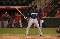 Milwaukee Brewers right fielder Corey Ray (5) during a Minor League Spring Training game against the Los Angeles Angels at Tempe Diablo Stadium on March 29, 2018 in Tempe, Arizona. (Zachary Lucy/Four Seam Images)
