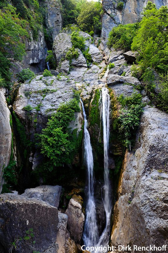 Wasserfall Cascade de L'Ucelluline an der Corniche de la Castagniccia, Korsika, Frankreich