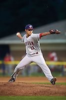 Auburn Doubledays pitcher Luis Torres (11) delivers a pitch during a game against the Batavia Muckdogs on July 8, 2015 at Dwyer Stadium in Batavia, New York.  Batavia defeated Auburn 4-1.  (Mike Janes/Four Seam Images)
