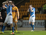 St Johnstone v Motherwell&hellip;17.12.16     McDiarmid Park    SPFL<br />Blair Alston holds his head after missing a late chance to score<br />Picture by Graeme Hart.<br />Copyright Perthshire Picture Agency<br />Tel: 01738 623350  Mobile: 07990 594431