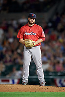 Pawtucket Red Sox relief pitcher Ryan Brasier (18) gets ready to deliver a pitch during a game against the Rochester Red Wings on July 4, 2018 at Frontier Field in Rochester, New York.  Pawtucket defeated Rochester 6-5.  (Mike Janes/Four Seam Images)