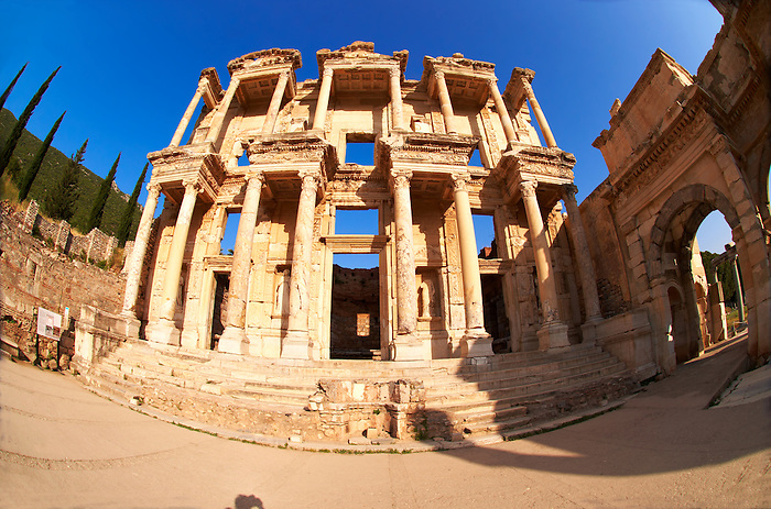 Picture of The library of Celsus. Images of the Roman ruins of Ephasus, Turkey. Stock Picture & Photo art prints 3
