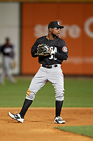 Chattanooga Lookouts shortstop Alfredo Rodriguez (35) during a Southern League game against the Birmingham Barons on May 1, 2019 at Regions Field in Birmingham, Alabama.  Chattanooga defeated Birmingham 5-0.  (Mike Janes/Four Seam Images)
