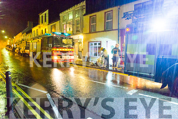 Property in Church Street Cahersiveen witnessed the effects of over 145mm of the rain that fell between Sunday night and Tuesday morning as both units of the Cahersiveen Fire Brigade worked tirelessly to free a build up of water behind one house on Church Street which caused water damage to adjoining property.