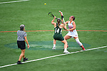 TAMPA, FL - MAY 20: Dani Bursinger #15 of the Florida Southern Mocs and Bryanna Fazio #14 of the Le Moyne Dolphins battle for the ball during the Division II Women's Lacrosse Championship held at the Naimoli Family Athletic and Intramural Complex on the University of Tampa campus on May 20, 2018 in Tampa, Florida. Le Moyne defeated Florida Southern 16-11 for the national title. (Photo by Jamie Schwaberow/NCAA Photos via Getty Images)