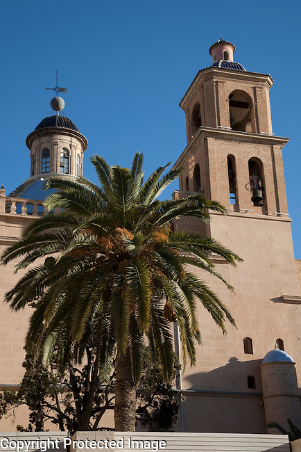 Main Tower and Facade of St Nicholas Cathedral in Alicante, Spain