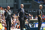 Home manager Alex McLeish (centre) and coach Andy Watson (left) become animated in the first half at St. Andrew's stadium, during Birmingham City's Barclay's Premier League match with Wolverhampton Wanderers. Both clubs were battling against relegation from  England's top division. The match ended in a 1-1 draw, watched by a crowd of 26,027.
