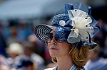 June 8, 2019 : A woman wears a navy hat on Belmont Stakes Festival Saturday at Belmont Park in Elmont, New York. Scott Serio/Eclipse Sportswire/CSM