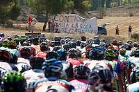 "The peloton near some supporters with  banner with the legend ""Contador shut up to the gabachos (the french)"" during the stage of La Vuelta 2012 beetwen Penafiel-La Lastrilla.September 7,2012. (ALTERPHOTOS/Paola Otero) /NortePhoto.com<br /> <br /> **CREDITO*OBLIGATORIO** *No*Venta*A*Terceros*<br /> *No*Sale*So*third* ***No*Se*Permite*Hacer Archivo***No*Sale*So*third"