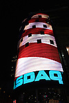 The American flag displayed on the Nasdaq ad screen, Times Square, NYC, USA