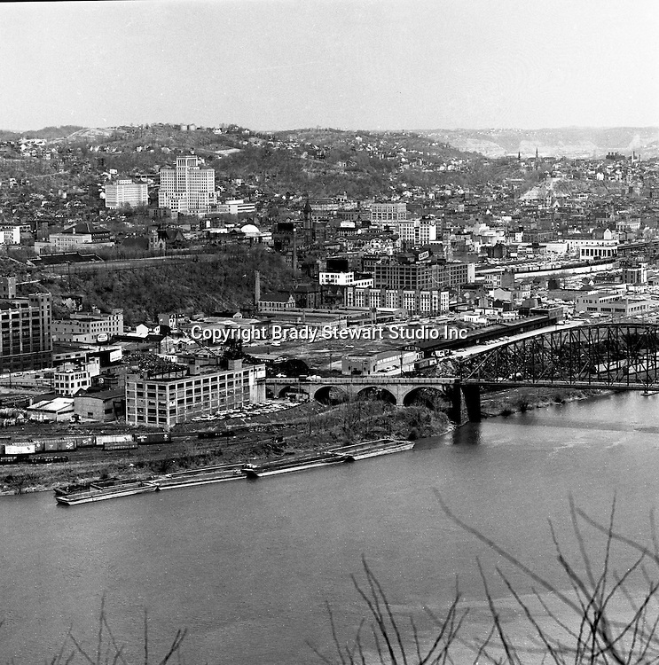 Pittsburgh PA:  View of Pittsburgh's Northside with the Allegheny General Hospital in the background - 1962