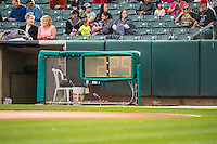 The newly installed timers sit ready prior to the start of the game between the Salt Lake Bees and the Sacramento River Cats in Pacific Coast League action at Smith's Ballpark on April 17, 2015 in Salt Lake City, Utah.  (Stephen Smith/Four Seam Images)