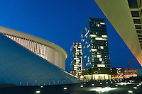 The Luxembourg Philharmonie (design by Christian de Portezamparc) and La Porte office towers (design by Ricardo Bofill) on the Kirchberg plateau