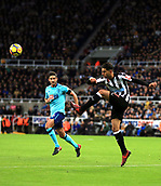 4th November 2017, St James Park, Newcastle upon Tyne, England; EPL Premier League football, Newcastle United Bournemouth; Ayoze Pérez of Newcastle United clears the ball with Andrew Surman of AFC Bournemouth looking on