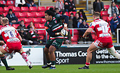 4th November 2017, Welford Road, Leicester, England; Anglo-Welsh Cup, Leicester Tigers versus Gloucester;  Fred Tuilagi (Leicester Tigers) spins the ball out wide