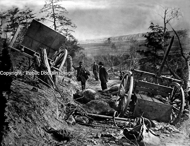 """""""Havoc,"""" effects of a 32-pound shell from gun of Second Massachusetts Heavy Artillery.  Confederate caisson and eight horses destroyed.  Fredericksburg, May 3, 1863.  Capt. Andrew J. Russell.  Mathew Brady Collection. (Army)<br /> NARA FILE #: 111-B-74<br /> WAR & CONFLICT BOOK #:  257"""