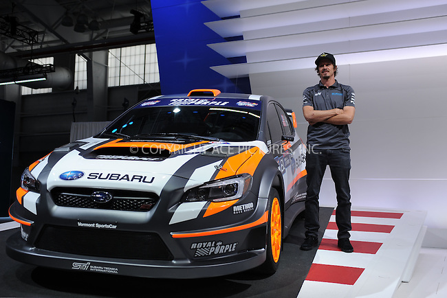 WWW.ACEPIXS.COM<br /> April 1, 2015 New York City<br /> <br /> Bucky Lasek and the Subaru 2015 WRX STI Rallycross car at the New York International Auto Show at the Jacob K. Javits Convention Center on  April 1, 2015 in New York City.<br /> <br /> Please byline: Kristin Callahan/AcePictures<br /> <br /> ACEPIXS.COM<br /> <br /> Tel: (646) 769 0430<br /> e-mail: info@acepixs.com<br /> web: http://www.acepixs.com