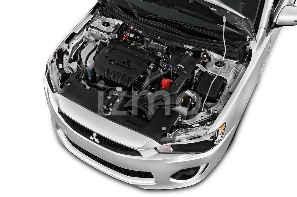 Car Stock 2016 Mitsubishi Lancer ES-CVT 4 Door Sedan Engine  high angle detail view