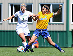 BROOKINGS, SD - AUGUST  22: Sydney Born #3 from Green Bay battle for the ball with Diana Potterveld #7 from South Dakota State University in the first half of their game Sunday afternoon at Fischback Soccer Field in Brookings. (Photo by Dave Eggen/Inertia)