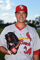 Palm Beach Cardinals pitcher Marco Gonzales (34) poses for a photo before a game against the Charlotte Stone Crabs on April 12, 2014 at Charlotte Sports Park in Port Charlotte, Florida.  Palm Beach defeated Charlotte 6-2.  (Mike Janes/Four Seam Images)