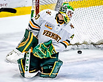 26 January 2019:  University of Vermont Catamount Goaltender Stefanos Lekkas, a Junior from Elburn, IL, gives up a game-tying goal on a power-play, with 9.4 seconds remaining in the third period against the Merrimack College Warriors at Gutterson Fieldhouse in Burlington, Vermont. The Catamounts defeated the Warriors 4-3 in overtime to take both games of their weekend America East conference series. Mandatory Credit: Ed Wolfstein Photo *** RAW (NEF) Image File Available ***