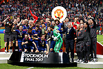 Manchester United players and staff celebrate after the UEFA Europa League Final match at the Friends Arena, Stockholm. Picture date: May 24th, 2017.Picture credit should read: Matt McNulty/Sportimage