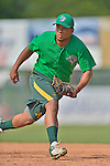 17 July 2013: Vermont Lake Monsters catcher Reynaldo Mateo takes some infield practice prior to a game against the Aberdeen Ironbirds at Centennial Field in Burlington, Vermont. The Lake Monsters fell to the Ironbirds 5-1 in NY Penn League action. Mandatory Credit: Ed Wolfstein Photo