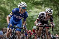 Zdenek Stybar (CZE/Quick Step Floors) &amp; Edward Theuns (BEL/Sunweb) up the infamous Kapelmuur. <br /> <br /> Binckbank Tour 2018 (UCI World Tour)<br /> Stage 7: Lac de l'eau d'heure (BE) - Geraardsbergen (BE) 212.7km
