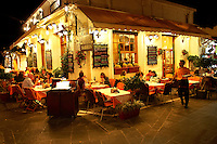 Restaurants in the old medieval city of Rhodes, Greece.