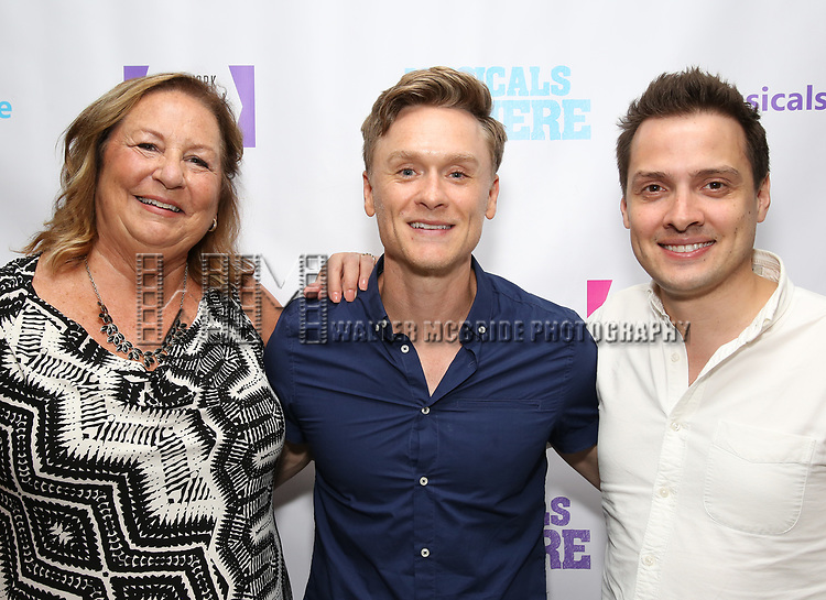 "Barbara Chubb, Josh Canfield and David Ruttura backstage at the New York Musical Festival production of  ""Alive! The Zombie Musical"" at the Alice Griffin Jewel Box Theatre on July 29, 2019 in New York City."