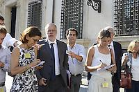 Roma, 24 Agosto 2012.Piazza Colonna.Palazzo Chigi.Il ministro Andrea riccardi esce dal Consiglio dei Ministri e parla con i giornalisti