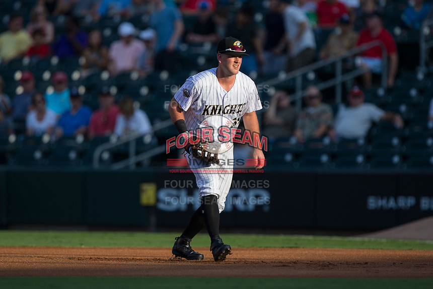 Charlotte Knights first baseman Casey Gillaspie (39) on defense against the Gwinnett Braves at BB&T BallPark on August 4, 2017 in Charlotte, North Carolina.  The Knights defeated the Braves 7-5 in a game shortened to 8 innings due to rain.  (Brian Westerholt/Four Seam Images)