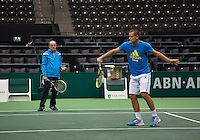 09-02-14, Netherlands,Rotterdam,Ahoy, ABNAMROWTT,  Mikhail Youzhny(RUS) with his coach Boris Sobkin<br /> Photo:Tennisimages/Henk Koster