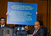 United States Senator Cory Booker (Democrat of New Jersey) points to a chart as he questions Judge Brett Kavanaugh as he testifies before the United States Senate Judiciary Committee on his nomination as Associate Justice of the US Supreme Court to replace the retiring Justice Anthony Kennedy on Capitol Hill in Washington, DC on Thursday, September 6, 2018.<br /> Credit: Ron Sachs / CNP<br /> (RESTRICTION: NO New York or New Jersey Newspapers or newspapers within a 75 mile radius of New York City)