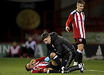 Sheffield United's Tyler Smith  injury during the FA Youth Cup First Round match at Bramall Lane Stadium, Sheffield. Picture date: November 1st 2016. Pic Richard Sellers/Sportimage